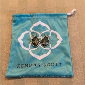 Kendra Scott Drop Earrings in Sage Mica and Gold